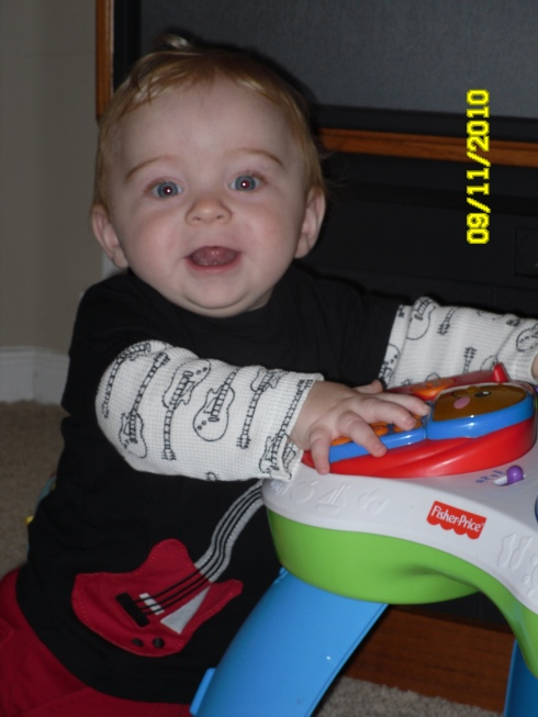 Sweet Elijah at 9 months!  He was so great while his mommy wasn't feeling well