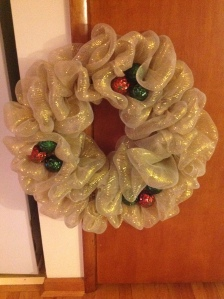 The Deco-Mesh wreath I made for my parents.