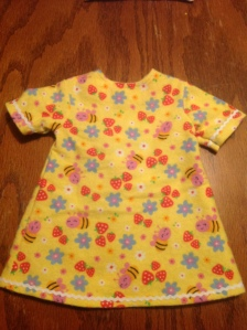 A sweet little matching nightgown for my cousin's American Girl doll.