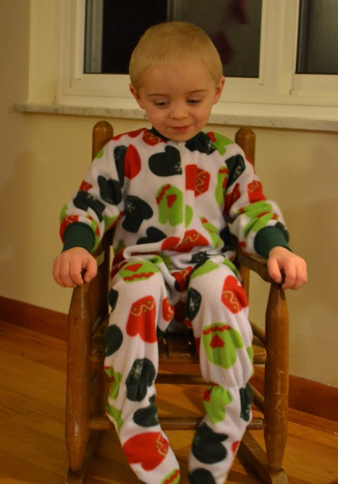 Eli was so pleased with his Christmas pajamas!