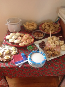 Just some of the appetizers and treats served at our Christmas party.