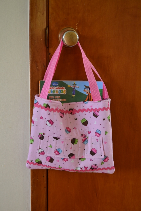 The lined tote bag I made for my cousin's 4th birthday.  The pocket on the outside holds 8 crayons.