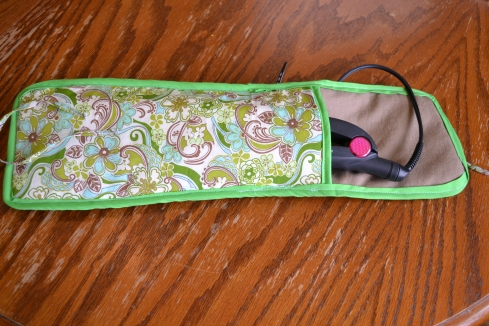 The Curling Iron/Flat Iron Case I sewed last week.