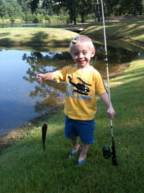 Elijah caught his first fish this past week!