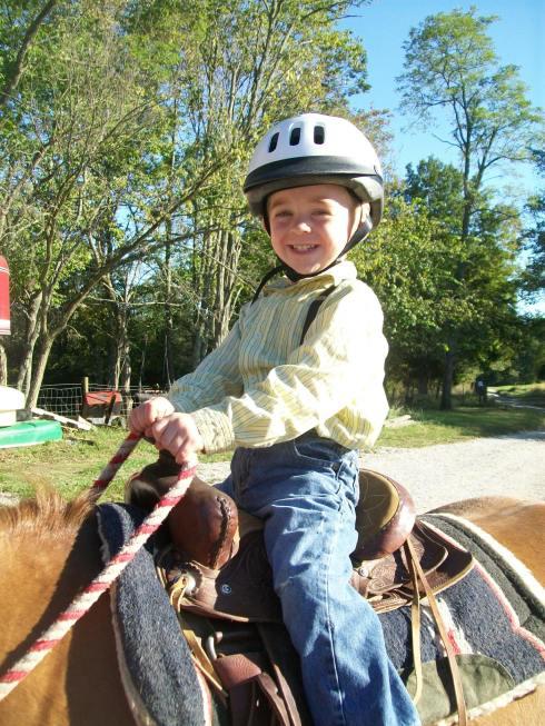 Eli enjoying his new saddle.