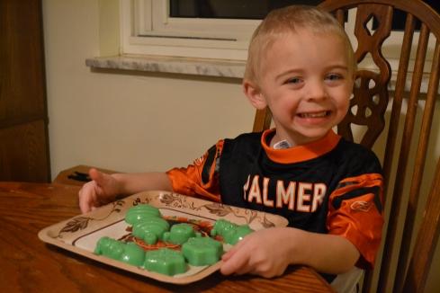 Eli made jello jigglers.